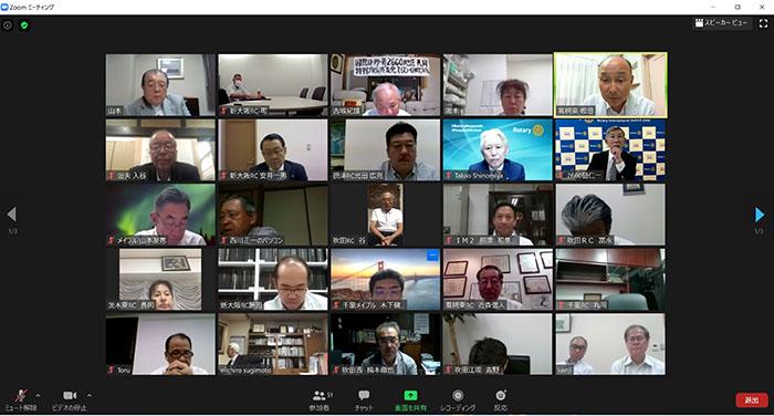 IM2組新旧会長幹事会をZOOMで開催しました(新大阪ロータリークラブ)