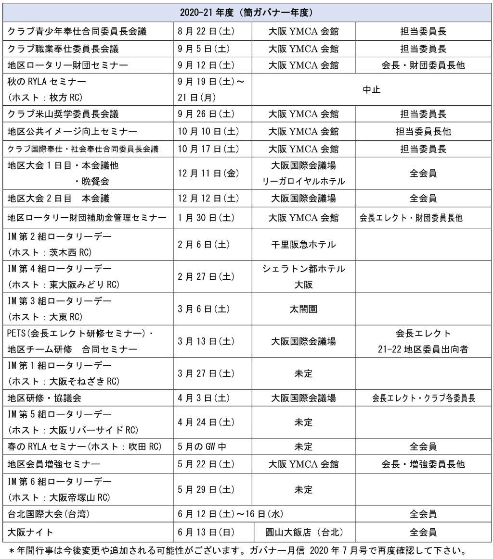 2020-21地区行事日程
