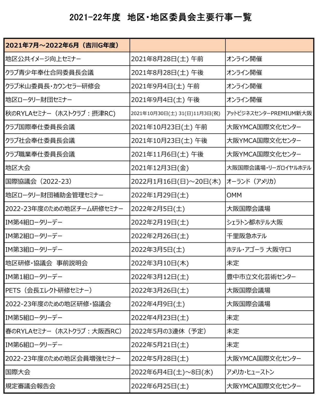 2021-22地区行事日程
